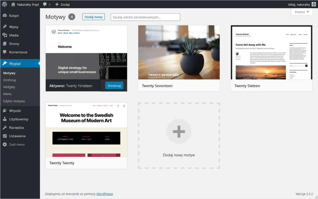 Usuń domyślne motywy WordPress-a