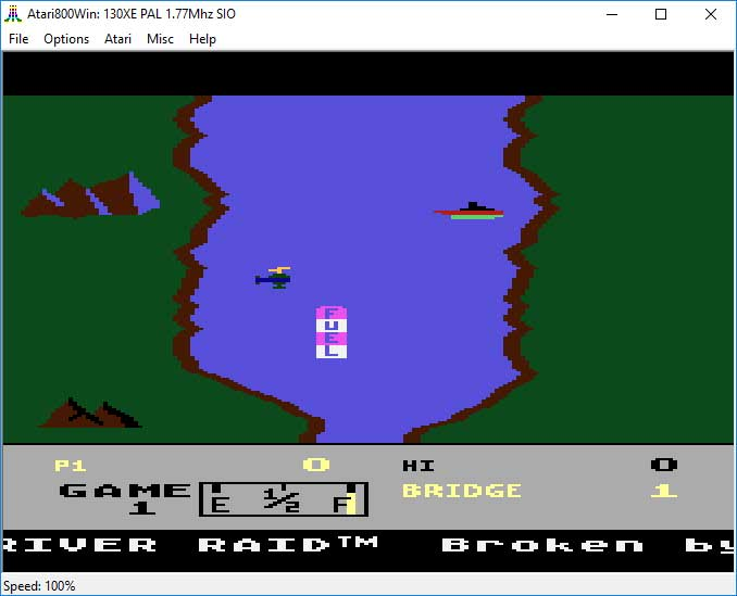 """Emulator Atari800Win - gra """"River Raid"""""""