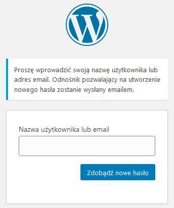 Formularz zdobywania nowego hasła do WordPress-a