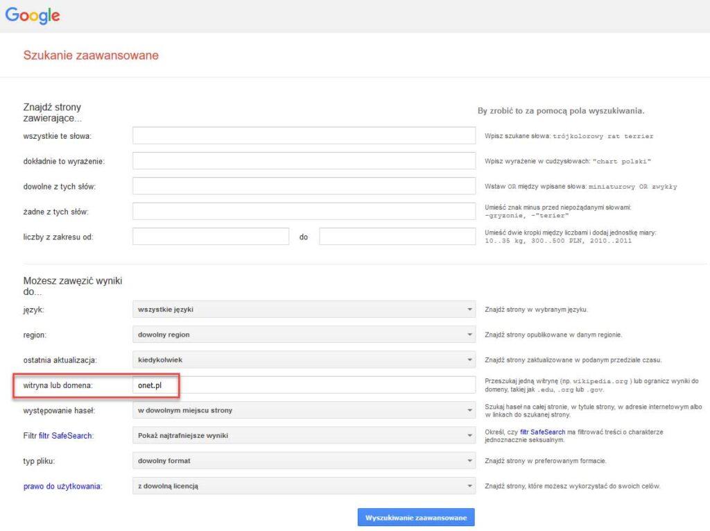 Formularz wyszukiwania zaawansowanego Google