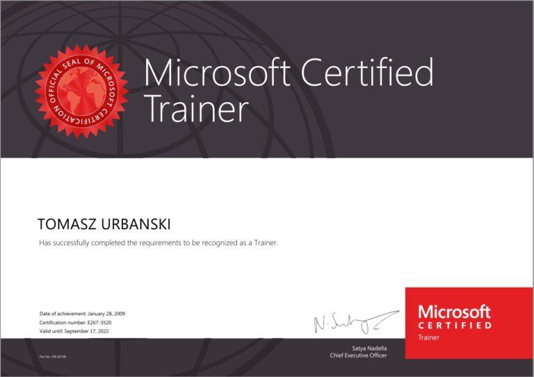 Tomasz Urbański - Microsoft Certified Trainer