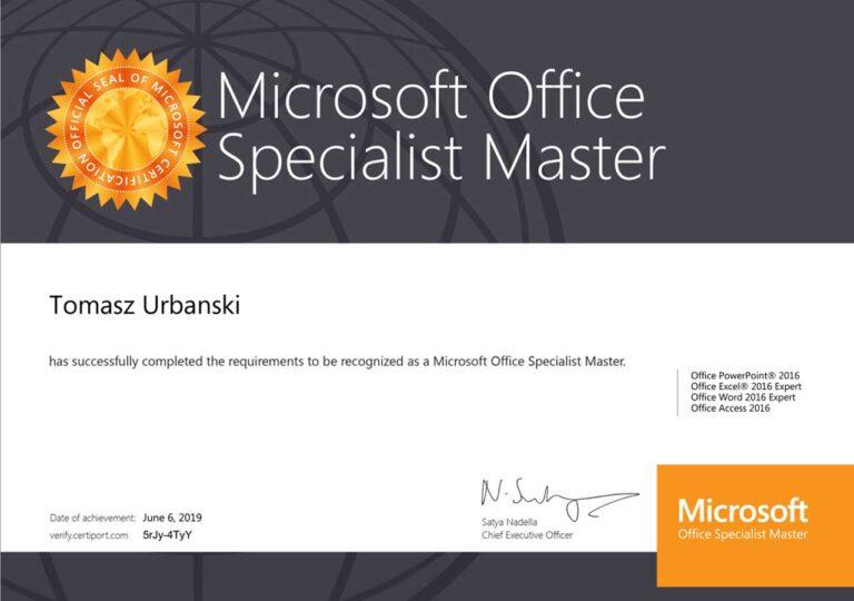Tomasz Urbański - Microsoft Office Specialist Master